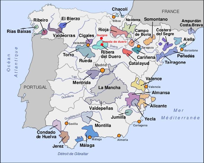 Map Of Spain Navarra.Spanish Wine